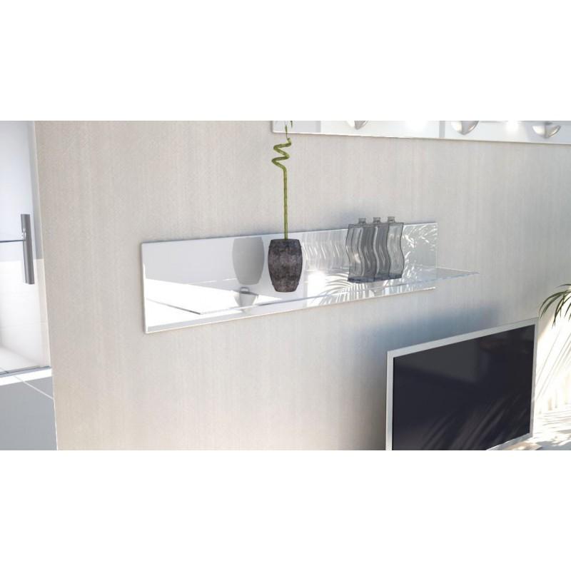 Etag re laqu e blanche en bois et verre 98 cm avec led pour etag r - Etagere blanche laquee ...