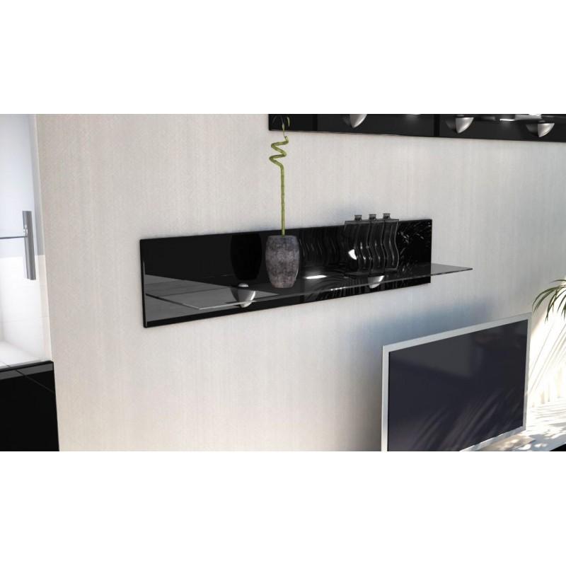 etag re laqu e noir en bois et verre 98 cm avec led pour. Black Bedroom Furniture Sets. Home Design Ideas
