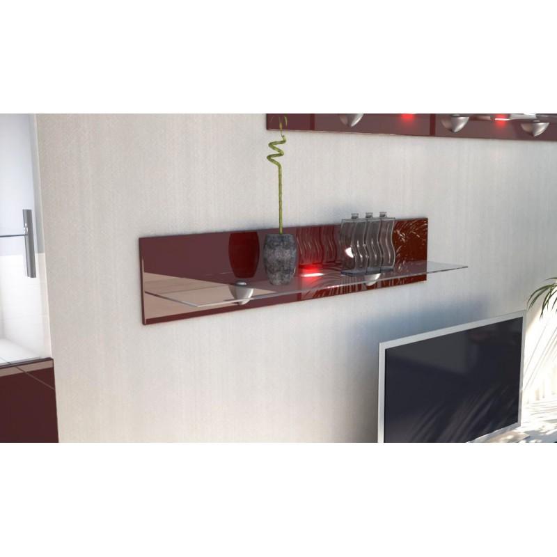 etag re laqu e bordeaux en bois et verre 98 cm avec led. Black Bedroom Furniture Sets. Home Design Ideas
