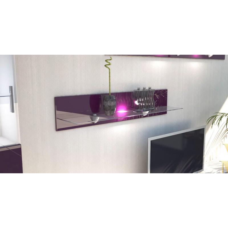 etag re laqu e m re en bois et verre 98 cm avec led pour. Black Bedroom Furniture Sets. Home Design Ideas