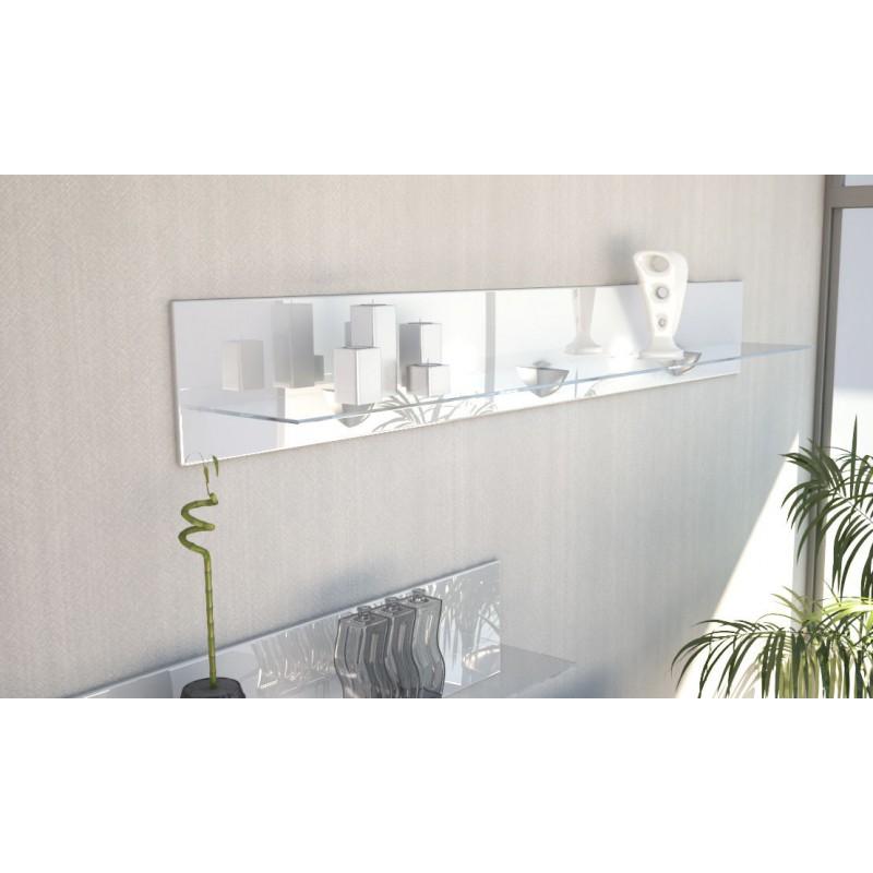 Etag re design en bois et verre blanche avec led 146 cm for Etagere verre