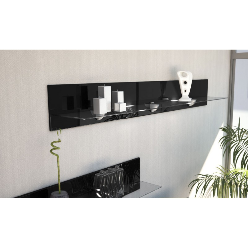 etag re design en bois et verre noire avec led 146 cm pour etag res. Black Bedroom Furniture Sets. Home Design Ideas