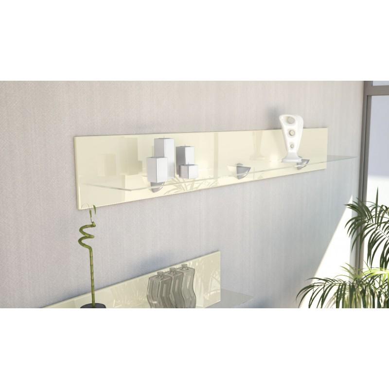 Etag re design en bois et verre cr me avec led 146 cm for Etagere verre