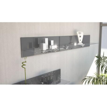 etag re design en bois et verre grise avec led 146 cm pour. Black Bedroom Furniture Sets. Home Design Ideas