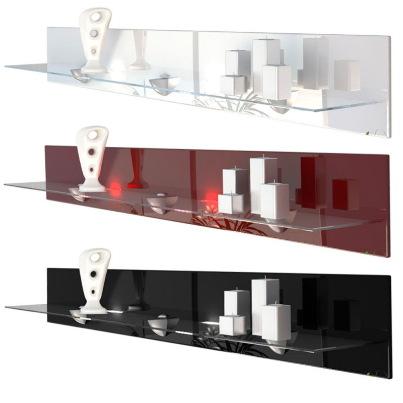 etagere murale design en bois et verre bordeaux avec led 146 cm. Black Bedroom Furniture Sets. Home Design Ideas