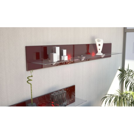 etagere murale design en bois et verre bordeaux avec led. Black Bedroom Furniture Sets. Home Design Ideas