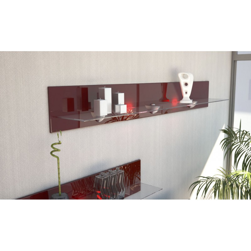 etagere murale design en bois et verre bordeaux avec led 146 cm pou. Black Bedroom Furniture Sets. Home Design Ideas