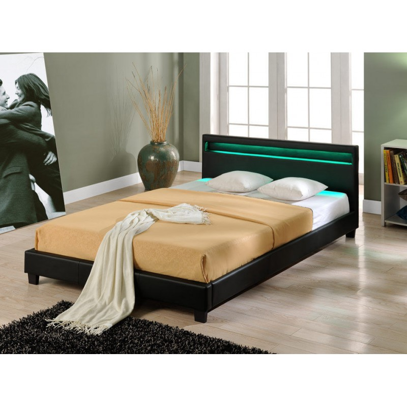 lit en pu noir avec led 140 x 200 cm pour lits a 442 88. Black Bedroom Furniture Sets. Home Design Ideas