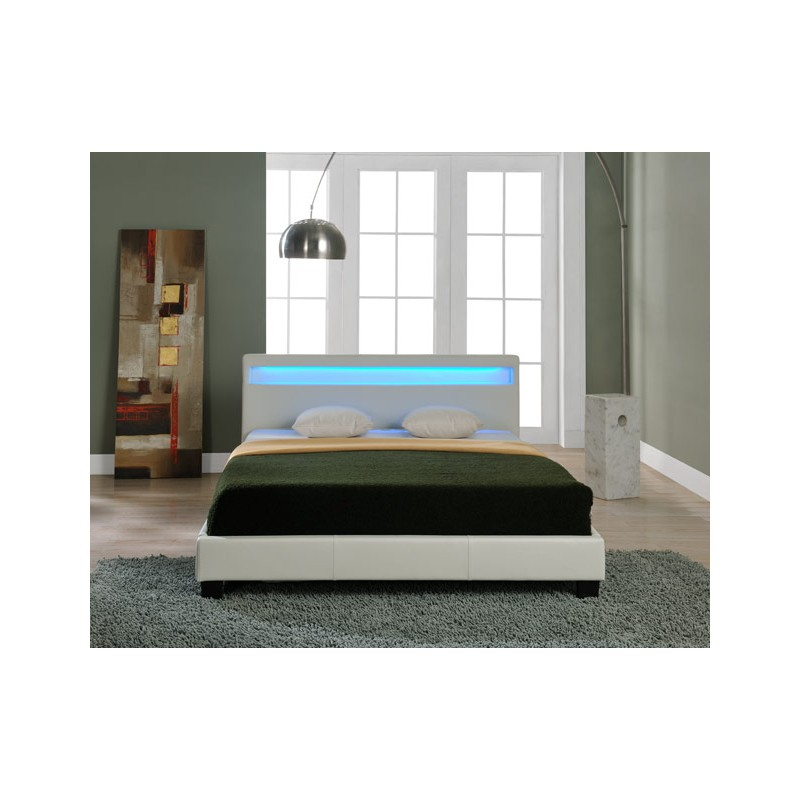 lit blanc avec led 180 x 200 cm. Black Bedroom Furniture Sets. Home Design Ideas