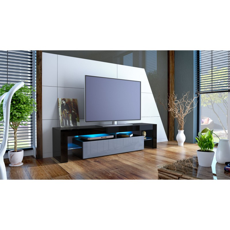 meuble tv noir et gris avec led 151 cm pour meubles tv design a 37. Black Bedroom Furniture Sets. Home Design Ideas