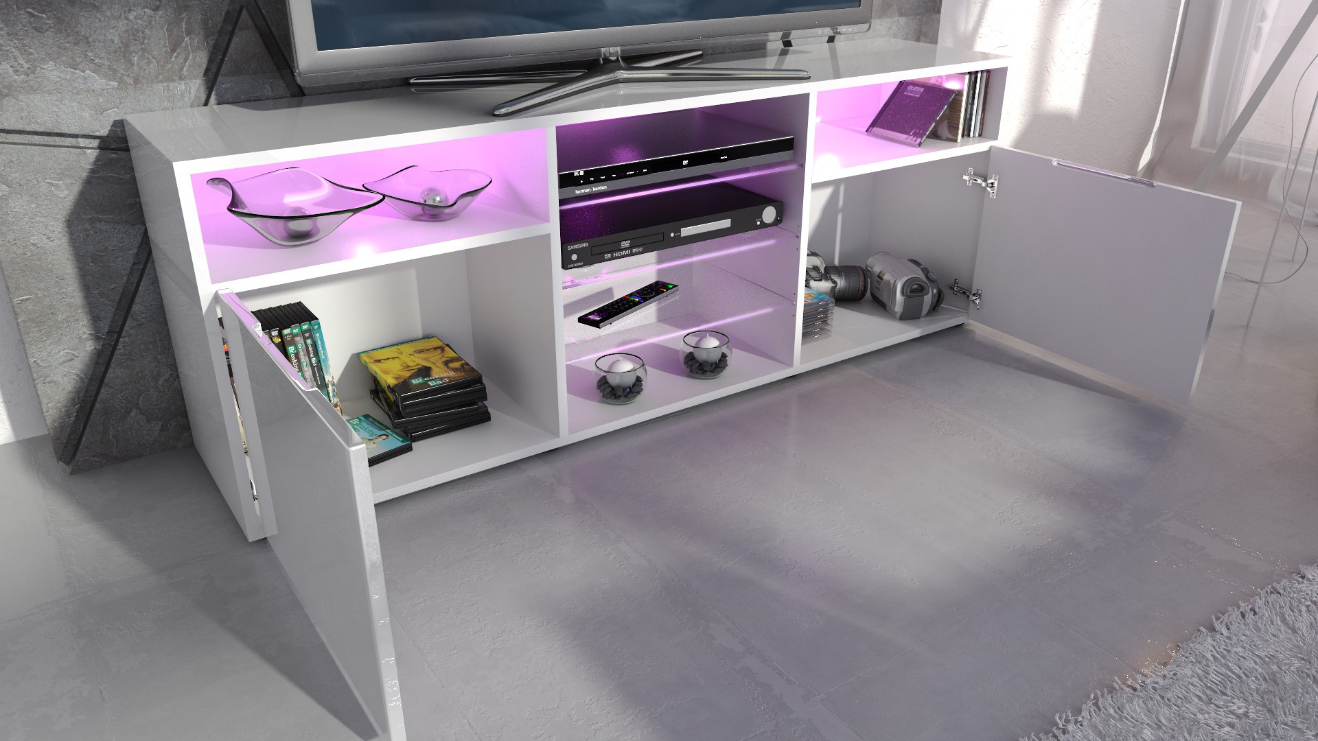 meuble design tv blanc et bordeaux avec led pour meubles tv design. Black Bedroom Furniture Sets. Home Design Ideas