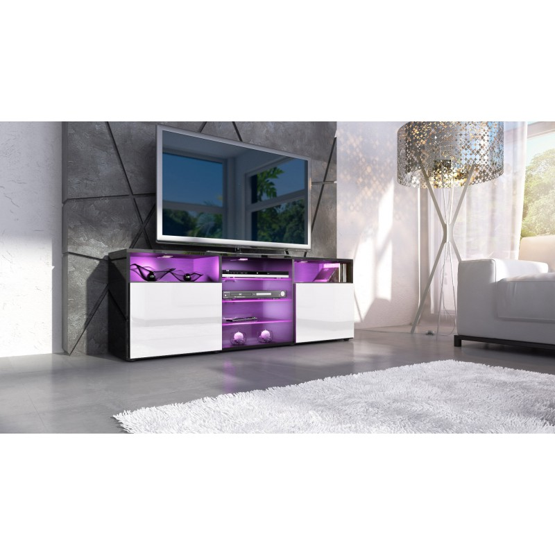 meuble design tv noir et blanc avec led pour meubles tv design a 39. Black Bedroom Furniture Sets. Home Design Ideas