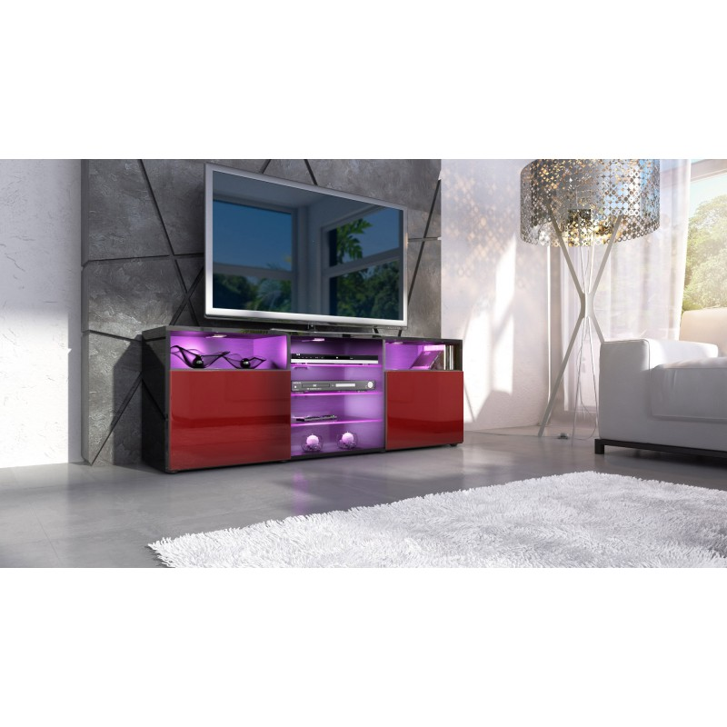 meuble design tv noir et bordeaux avec led pour meubles tv design a. Black Bedroom Furniture Sets. Home Design Ideas