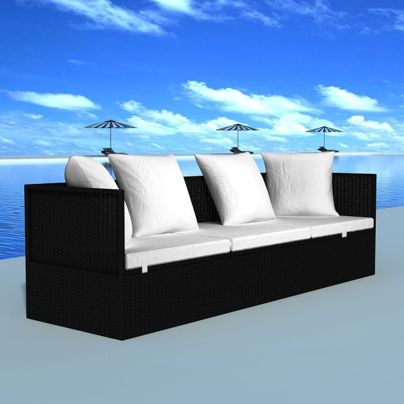 canap lit noir en poly rotin avecc oreillers coussins pour salons. Black Bedroom Furniture Sets. Home Design Ideas