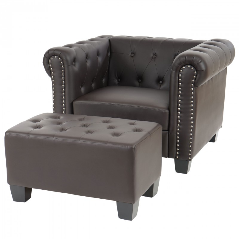 fauteuil chesterfield confortable brun avec repose pieds pour faute. Black Bedroom Furniture Sets. Home Design Ideas