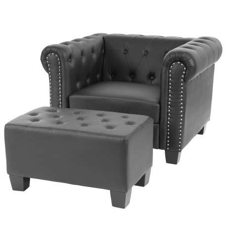 fauteuil confortable chesterfield noir avec repose pieds. Black Bedroom Furniture Sets. Home Design Ideas