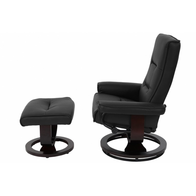 fauteuil de relaxation avec repose pieds noir. Black Bedroom Furniture Sets. Home Design Ideas