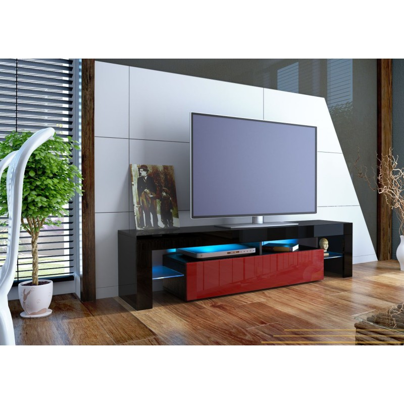 meuble tv design laqu noir et bordeaux sans led pour meubles tv d. Black Bedroom Furniture Sets. Home Design Ideas