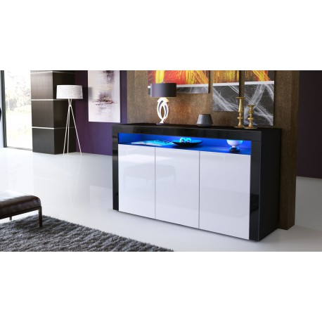 buffet enti rement laqu noir noir et blanc avec led pour. Black Bedroom Furniture Sets. Home Design Ideas