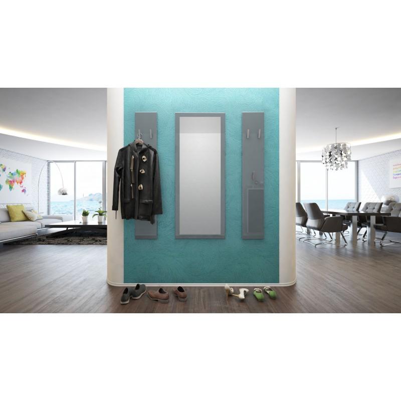 ensemble porte manteaux avec miroir laqu gris pour meubles d 39 entr. Black Bedroom Furniture Sets. Home Design Ideas