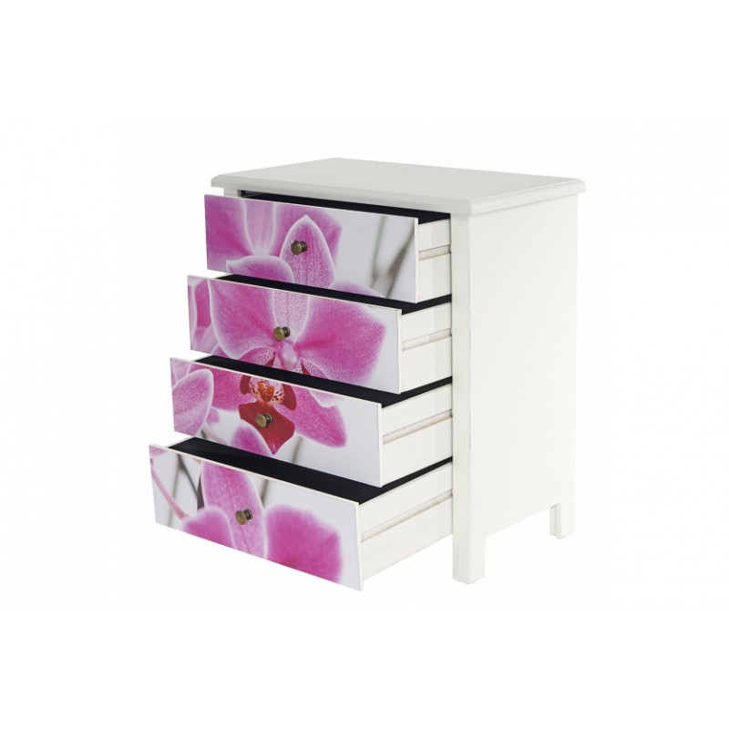 commode table d 39 appoint chevet 66x60x33cm motif orchid e pour comm. Black Bedroom Furniture Sets. Home Design Ideas