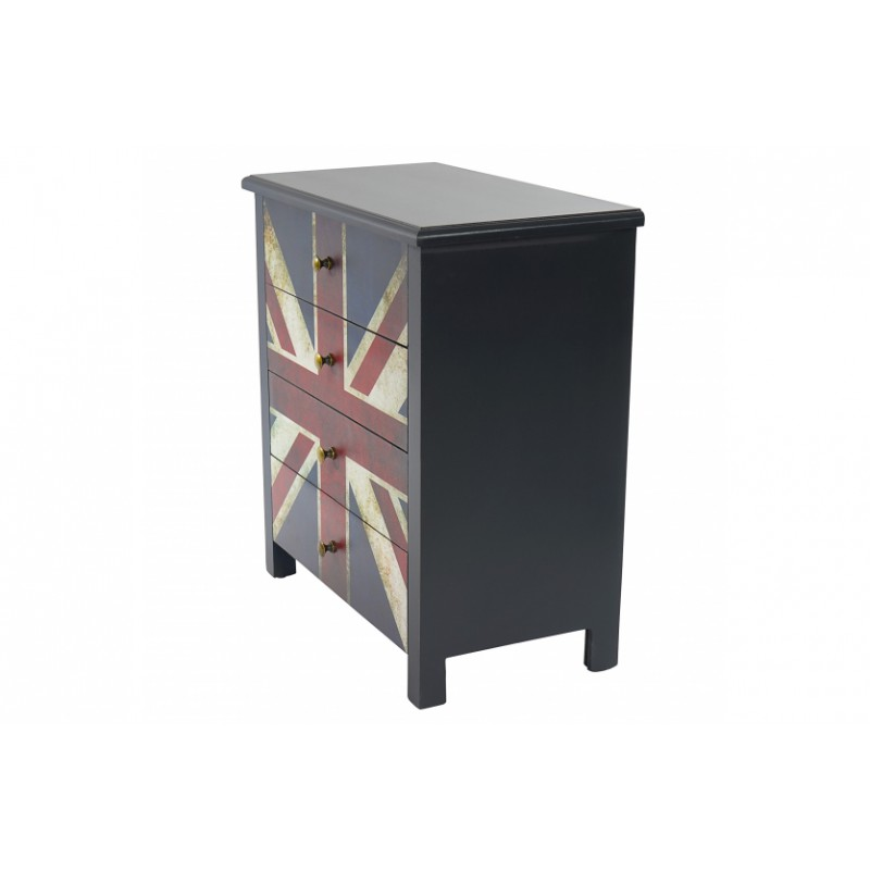 commode table d 39 appoint chevet 66x60x33cm avec motif union jack pou. Black Bedroom Furniture Sets. Home Design Ideas