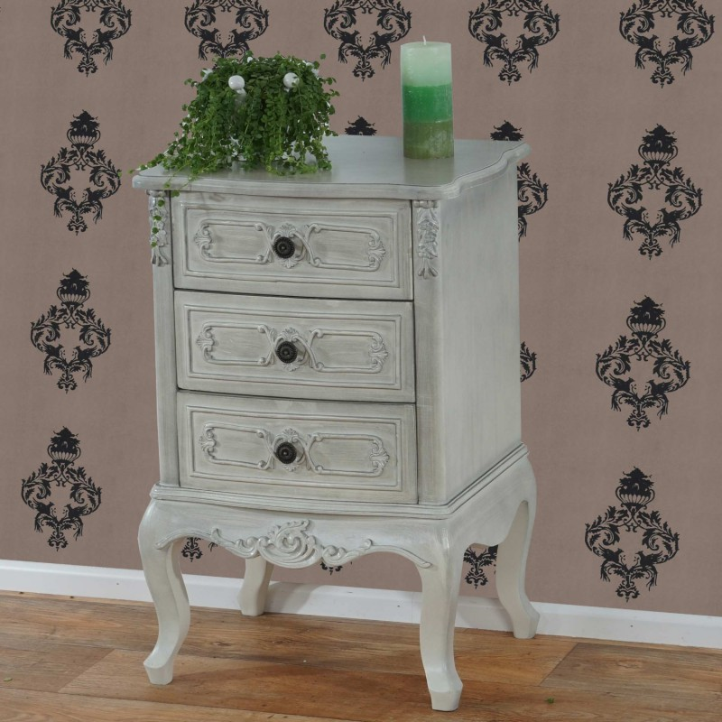 Table de chevet commode style baroque antique 72x48x38cm bla - Table de chevet baroque blanche ...