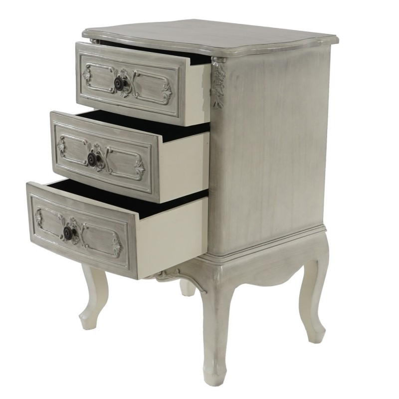 table de chevet commode style baroque antique 72x48x38cm blanc shabby pas cher meubles. Black Bedroom Furniture Sets. Home Design Ideas