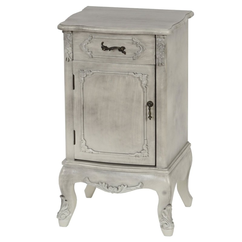 commode table de chevet style baroque antique 71x41x35cm blanc. Black Bedroom Furniture Sets. Home Design Ideas