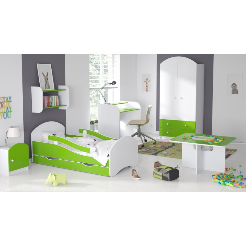 lit enfant avec barri res matelas tiroir stickers ballon 160 x 80. Black Bedroom Furniture Sets. Home Design Ideas