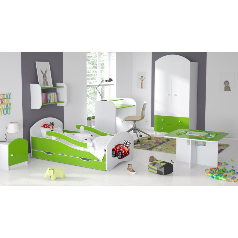 lit enfant avec barri res matelas tiroir stickers voiture 160 x 8. Black Bedroom Furniture Sets. Home Design Ideas