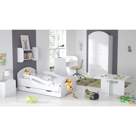 lit enfant blanc avec barri res matelas tiroir stickers chien 160. Black Bedroom Furniture Sets. Home Design Ideas