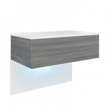 Table de chevet en Blanc mat et  Avola-Anthracite en MDF