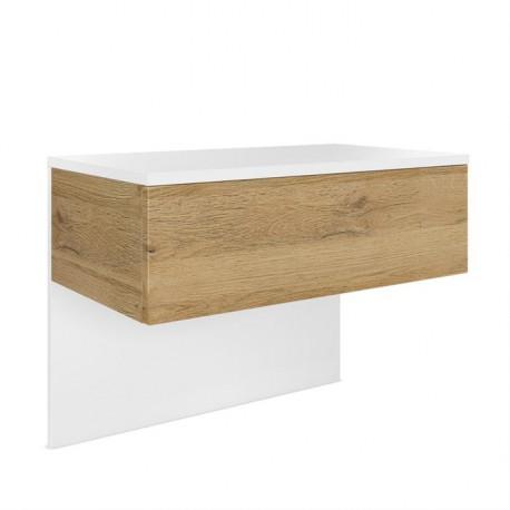 Table de chevet en Blanc mat et aspect Chêne Nature en MDF
