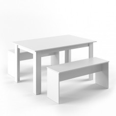 Table avec 2 bancs en blanc mat