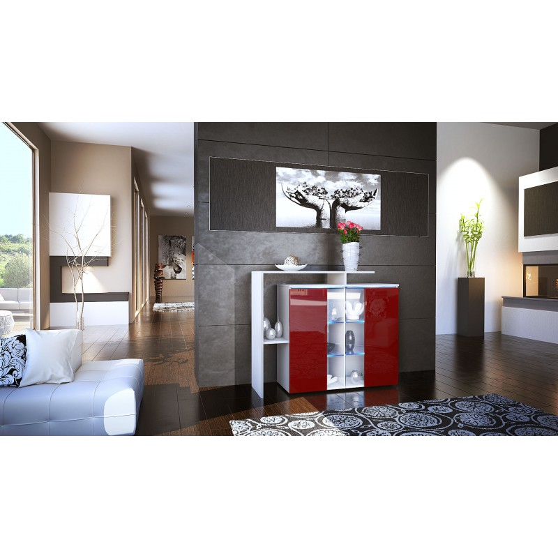 meuble design blanc et bordeaux fa ade laqu e sans led pour buffets. Black Bedroom Furniture Sets. Home Design Ideas