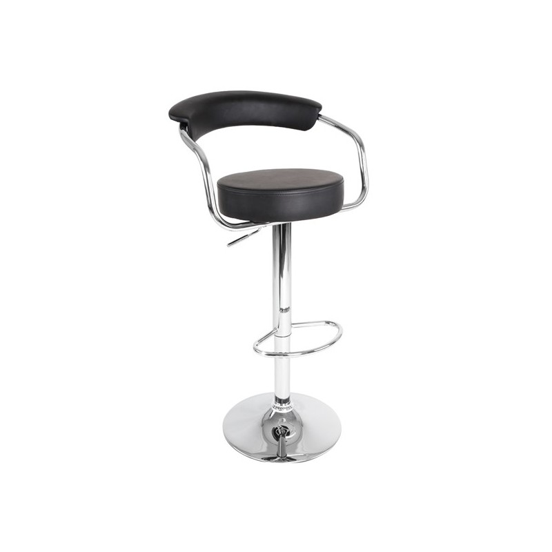 tabouret de bar design chrom r glable pivotant simili noir pour ta. Black Bedroom Furniture Sets. Home Design Ideas