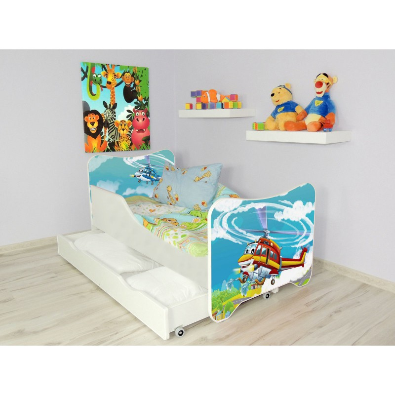 lit enfant et b b 144 x 76 cm avec matelas et tiroirs h licopt re. Black Bedroom Furniture Sets. Home Design Ideas