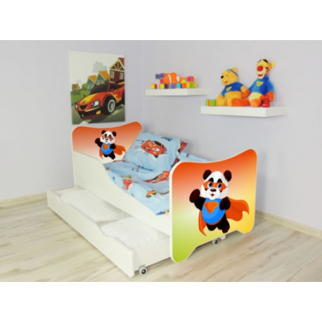 lit enfant et b b 144 x 76 cm avec matelas et tiroirs super panda. Black Bedroom Furniture Sets. Home Design Ideas