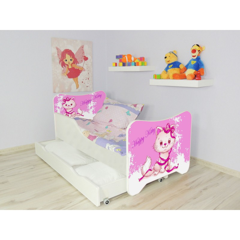 lit enfant et b b 160x80 cm avec matelas et tiroir happy. Black Bedroom Furniture Sets. Home Design Ideas