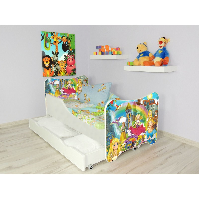 lit enfant et b b 160 x60 cm avec matelas et tiroirs princesses po. Black Bedroom Furniture Sets. Home Design Ideas