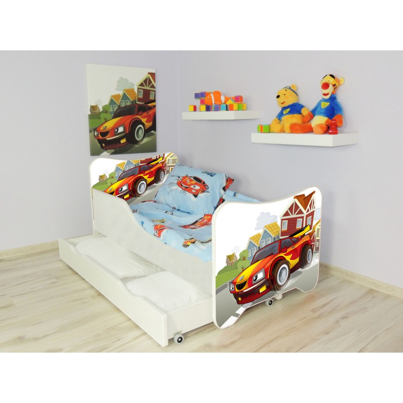 lit enfant et b b 160 x 80 cm avec matelas et tiroirs racing car. Black Bedroom Furniture Sets. Home Design Ideas