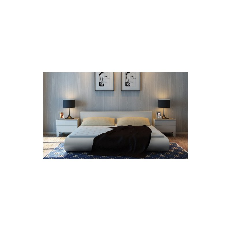 Lit 140x200 cm blanc cr me design pour lits a 336 38 for Lit design 140x200
