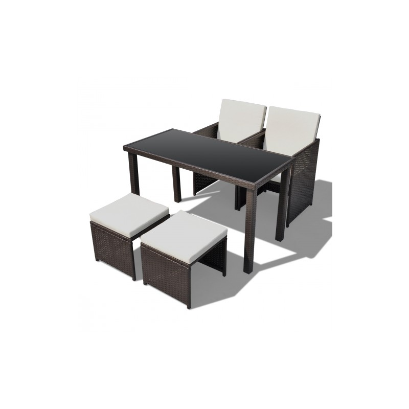 Ensemble table 2 chaises 2 tabourets poly rotin marron for Table et chaise en rotin