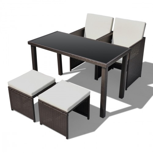Ensemble table 2 chaises 2 tabourets poly rotin marron for Table en rotin et verre