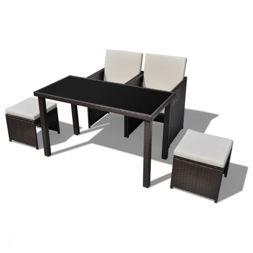 Ensemble table 2 chaises 2 tabourets poly rotin marron for Table rotin et verre