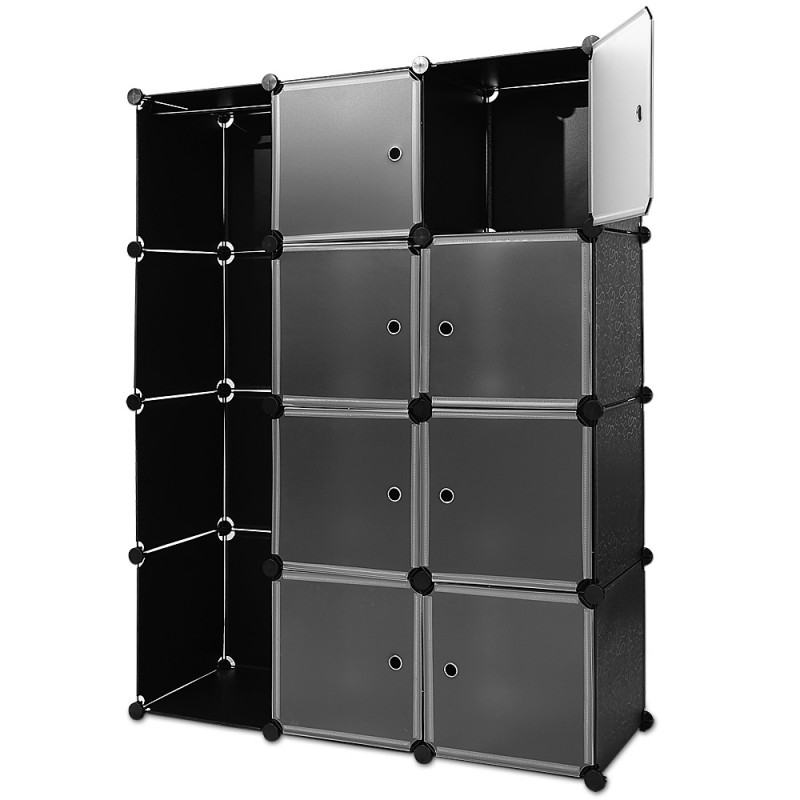 etag res armoire penderie noir rangement plastique 8 casiers 1 trin. Black Bedroom Furniture Sets. Home Design Ideas
