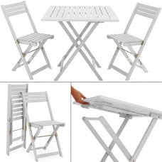 ensemble table 2 chaises pliant Blanc
