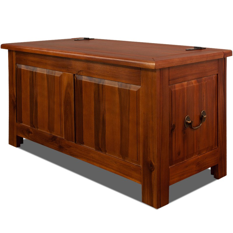 coffre malle en bois massif acacia 85 cm style colonial bois pour r. Black Bedroom Furniture Sets. Home Design Ideas