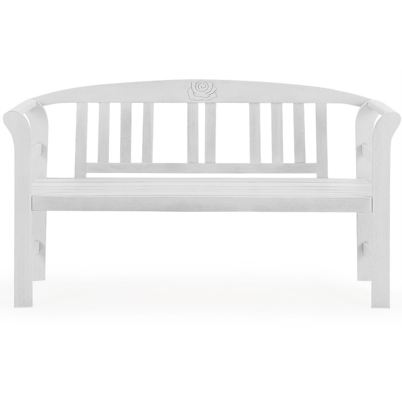 banc de jardin blanc en bois massif 130x82cm pour bancs de. Black Bedroom Furniture Sets. Home Design Ideas